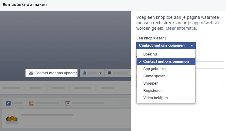 Facebookpagina Call to action