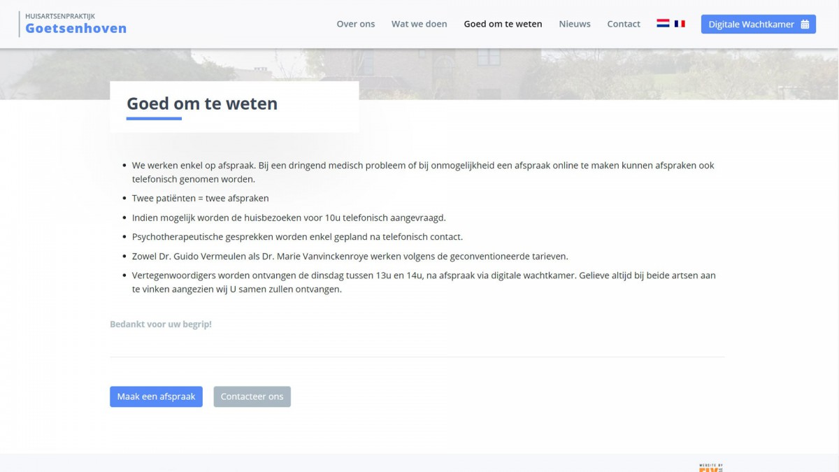 Huisartsenpraktijk Goetsenhoven Website door Fly Media