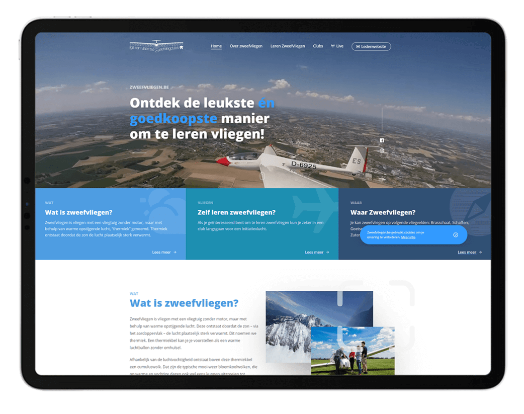 Zweefvliegen.be - Website door FLY Media